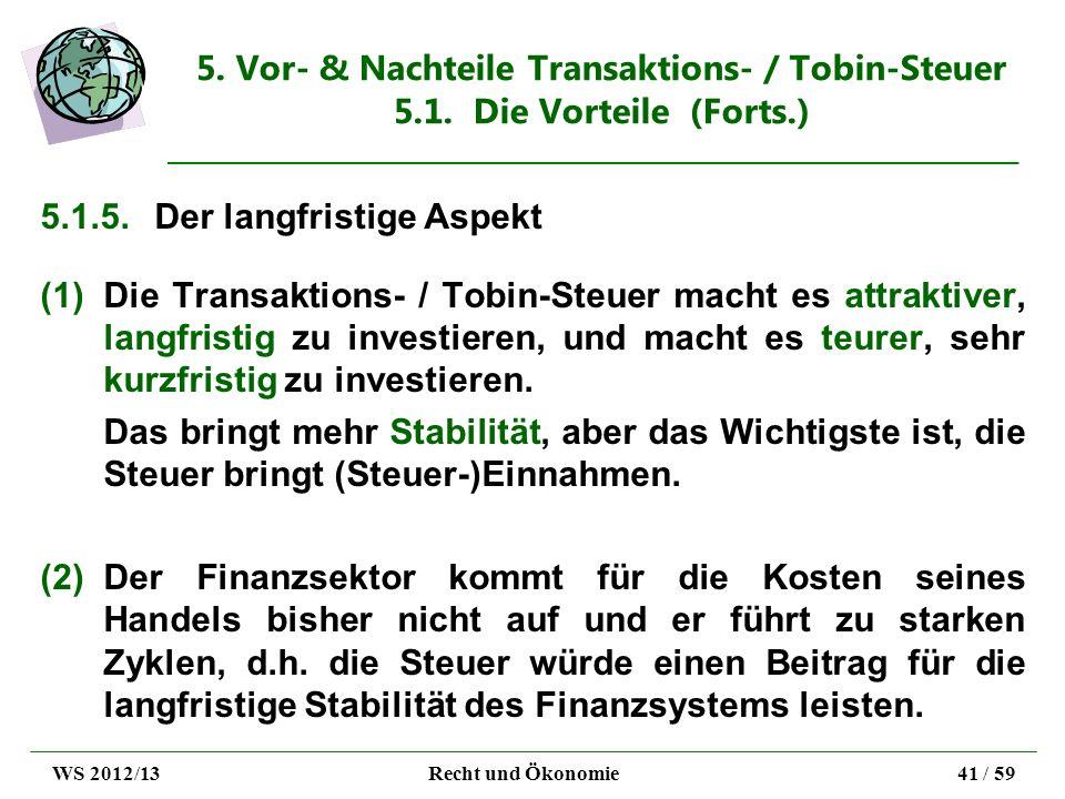 5. Vor- & Nachteile Transaktions- / Tobin-Steuer 5.1. Die Vorteile (Forts.) 5.1.5.Der langfristige Aspekt (1)Die Transaktions- / Tobin-Steuer macht es
