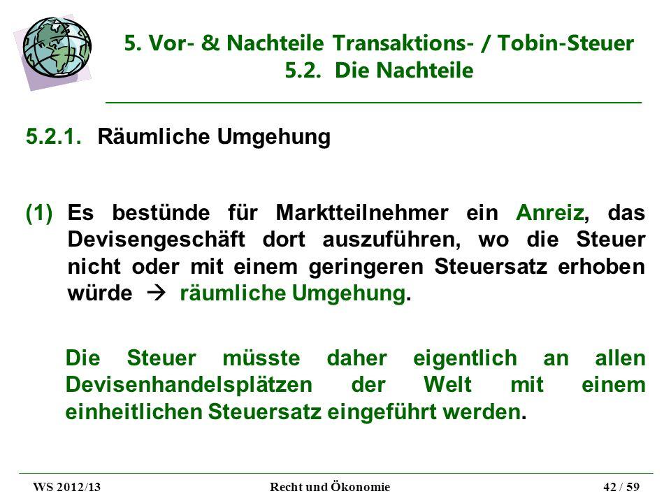 5. Vor- & Nachteile Transaktions- / Tobin-Steuer 5.2. Die Nachteile 5.2.1.Räumliche Umgehung (1)Es bestünde für Marktteilnehmer ein Anreiz, das Devise
