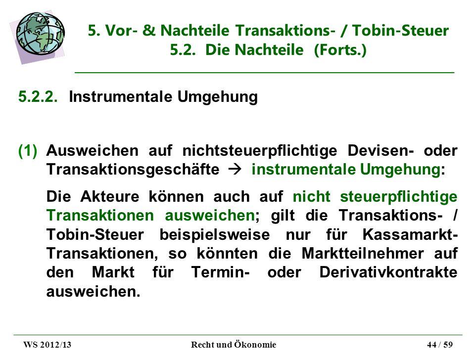 5. Vor- & Nachteile Transaktions- / Tobin-Steuer 5.2. Die Nachteile (Forts.) 5.2.2.Instrumentale Umgehung (1)Ausweichen auf nichtsteuerpflichtige Devi