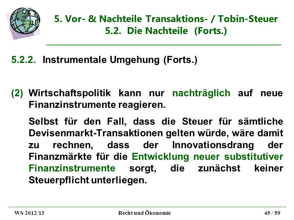 5. Vor- & Nachteile Transaktions- / Tobin-Steuer 5.2. Die Nachteile (Forts.) 5.2.2.Instrumentale Umgehung (Forts.) (2)Wirtschaftspolitik kann nur nach