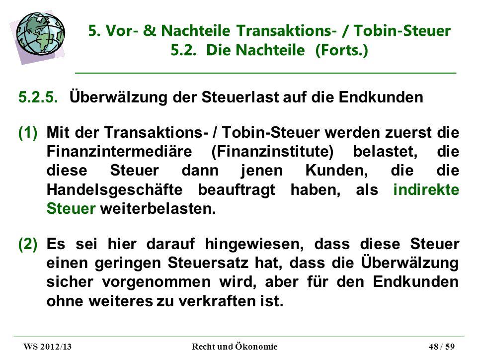 5. Vor- & Nachteile Transaktions- / Tobin-Steuer 5.2. Die Nachteile (Forts.) 5.2.5.Überwälzung der Steuerlast auf die Endkunden (1)Mit der Transaktion