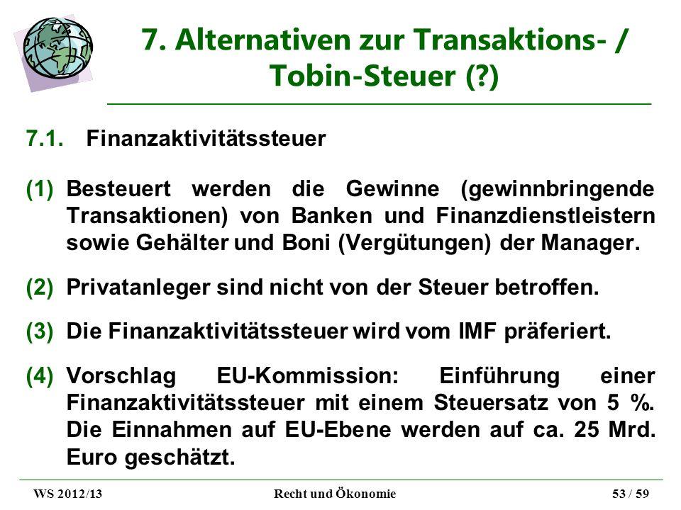 7. Alternativen zur Transaktions- / Tobin-Steuer (?) 7.1.Finanzaktivitätssteuer (1)Besteuert werden die Gewinne (gewinnbringende Transaktionen) von Ba