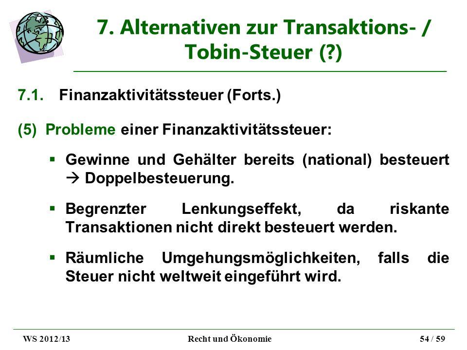 7. Alternativen zur Transaktions- / Tobin-Steuer (?) 7.1.Finanzaktivitätssteuer (Forts.) (5)Probleme einer Finanzaktivitätssteuer: Gewinne und Gehälte