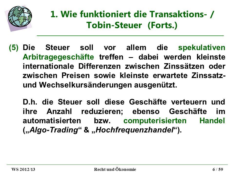 1. Wie funktioniert die Transaktions- / Tobin-Steuer (Forts.) (5)Die Steuer soll vor allem die spekulativen Arbitragegeschäfte treffen – dabei werden