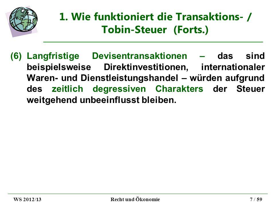 2. Ziele der Transaktions - / Tobin-Steuer WS 2012/13Recht und Ökonomie8 / 59