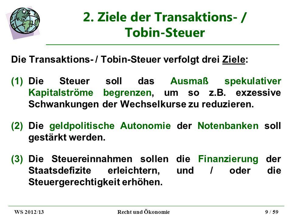2. Ziele der Transaktions- / Tobin-Steuer Die Transaktions- / Tobin-Steuer verfolgt drei Ziele: (1)Die Steuer soll das Ausmaß spekulativer Kapitalströ