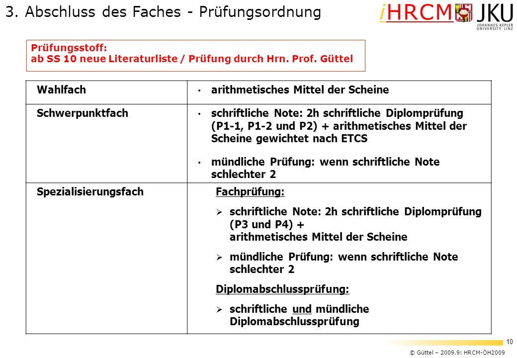 © Güttel – 2009.9: HRCM-ÖH2009 10 iHRCM Prüfungsstoff: ab SS 10 neue Literaturliste / Prüfung durch Hrn. Prof. Güttel Wahlfach arithmetisches Mittel d