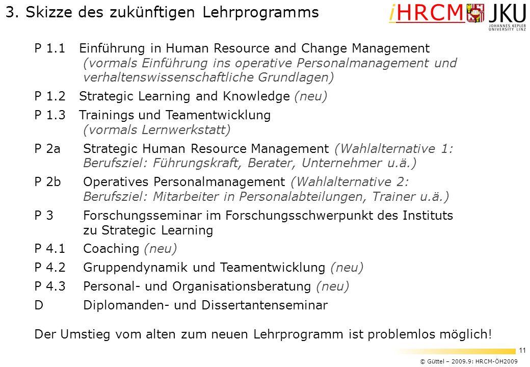 © Güttel – 2009.9: HRCM-ÖH2009 11 iHRCM 3. Skizze des zukünftigen Lehrprogramms P 1.1 Einführung in Human Resource and Change Management (vormals Einf