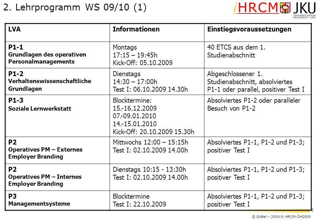 © Güttel – 2009.9: HRCM-ÖH2009 6 iHRCM LVAInformationenEinstiegsvoraussetzungen P1-1 Grundlagen des operativen Personalmanagements Montags 17:15 – 19: