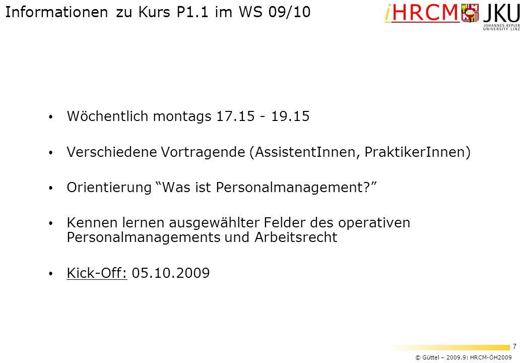 © Güttel – 2009.9: HRCM-ÖH2009 7 iHRCM Wöchentlich montags 17.15 - 19.15 Verschiedene Vortragende (AssistentInnen, PraktikerInnen) Orientierung Was is
