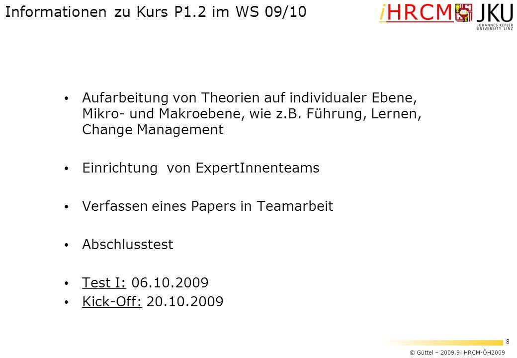 © Güttel – 2009.9: HRCM-ÖH2009 8 iHRCM Aufarbeitung von Theorien auf individualer Ebene, Mikro- und Makroebene, wie z.B. Führung, Lernen, Change Manag