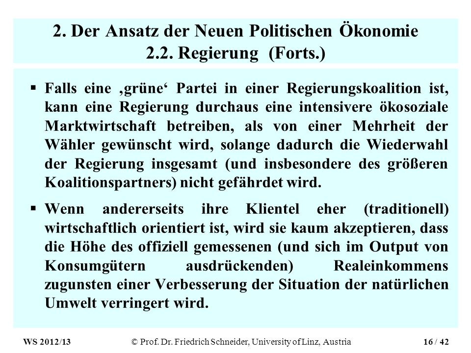 2. Der Ansatz der Neuen Politischen Ökonomie 2.2.
