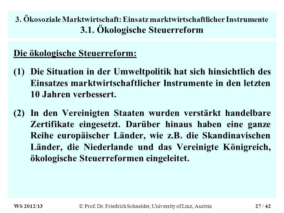 3. Ökosoziale Marktwirtschaft: Einsatz marktwirtschaftlicher Instrumente 3.1.