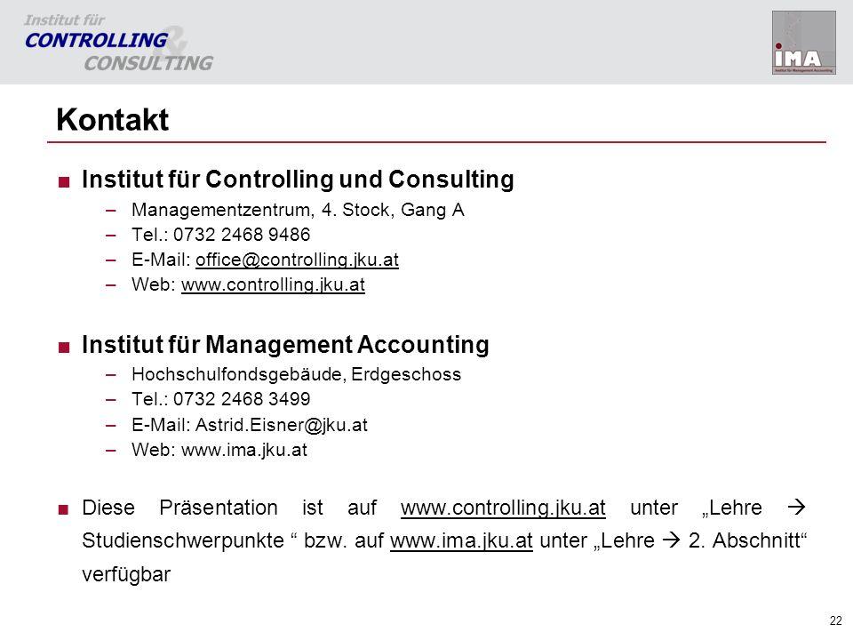 22 Kontakt Institut für Controlling und Consulting –Managementzentrum, 4. Stock, Gang A –Tel.: 0732 2468 9486 –E-Mail: office@controlling.jku.atoffice