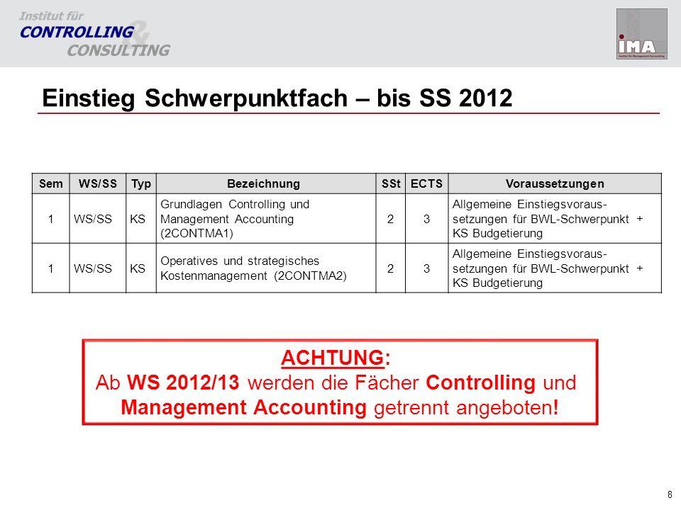 8 Einstieg Schwerpunktfach – bis SS 2012 SemWS/SSTypBezeichnungSStECTSVoraussetzungen 1WS/SSKS Grundlagen Controlling und Management Accounting (2CONT