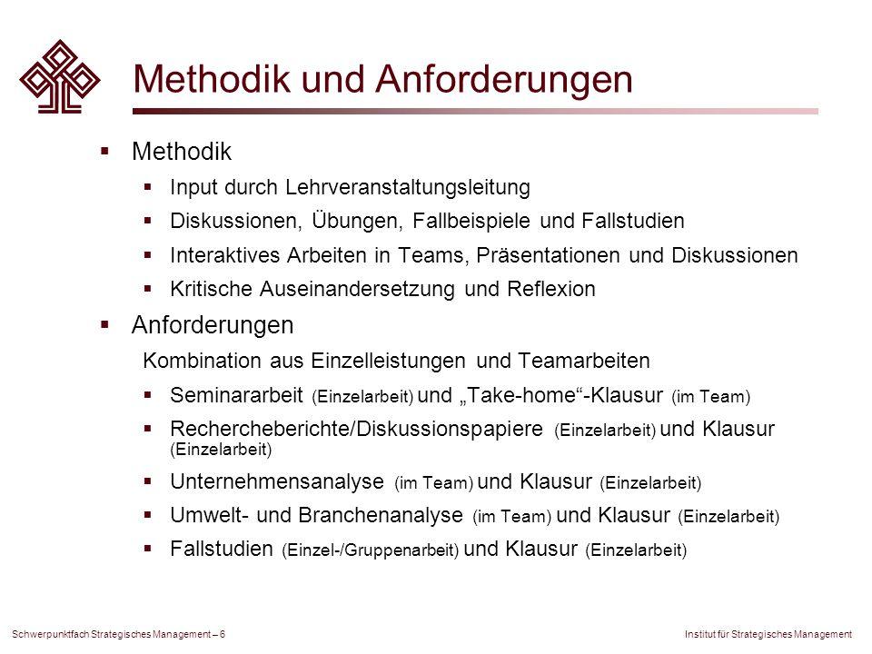 Institut für Strategisches Management Schwerpunktfach Strategisches Management – 6 Methodik und Anforderungen Methodik Input durch Lehrveranstaltungsl