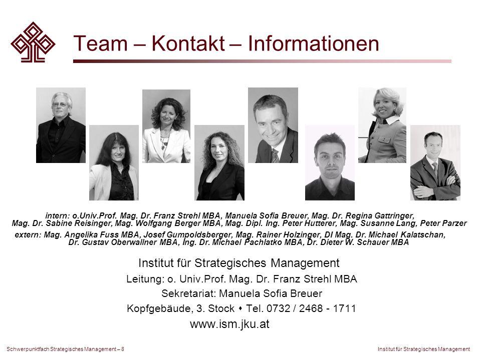 Institut für Strategisches Management Schwerpunktfach Strategisches Management – 8 Team – Kontakt – Informationen intern: o.Univ.Prof. Mag. Dr. Franz