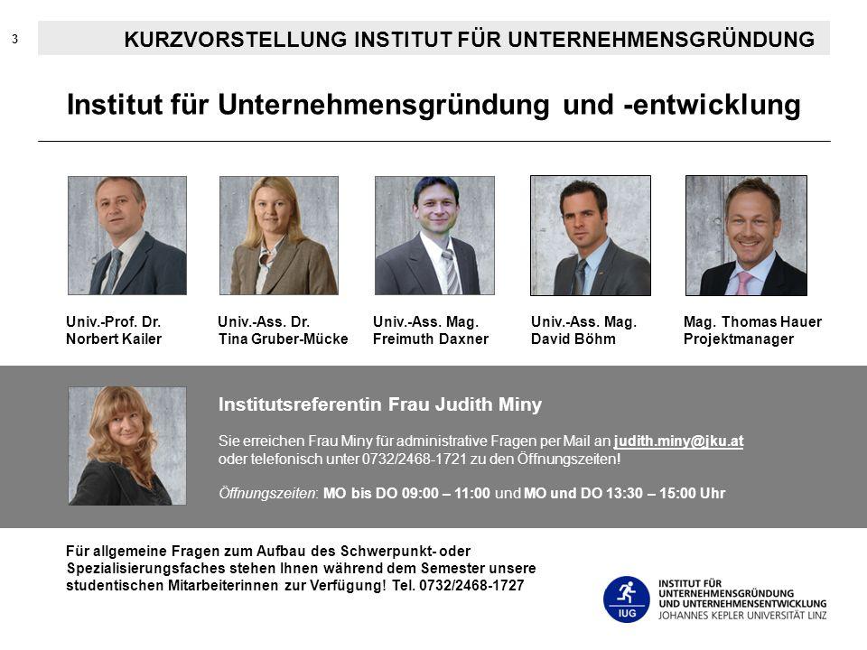 3 KURZVORSTELLUNG INSTITUT FÜR UNTERNEHMENSGRÜNDUNG Institut für Unternehmensgründung und -entwicklung Univ.-Prof. Dr. Norbert Kailer Univ.-Ass. Dr. T