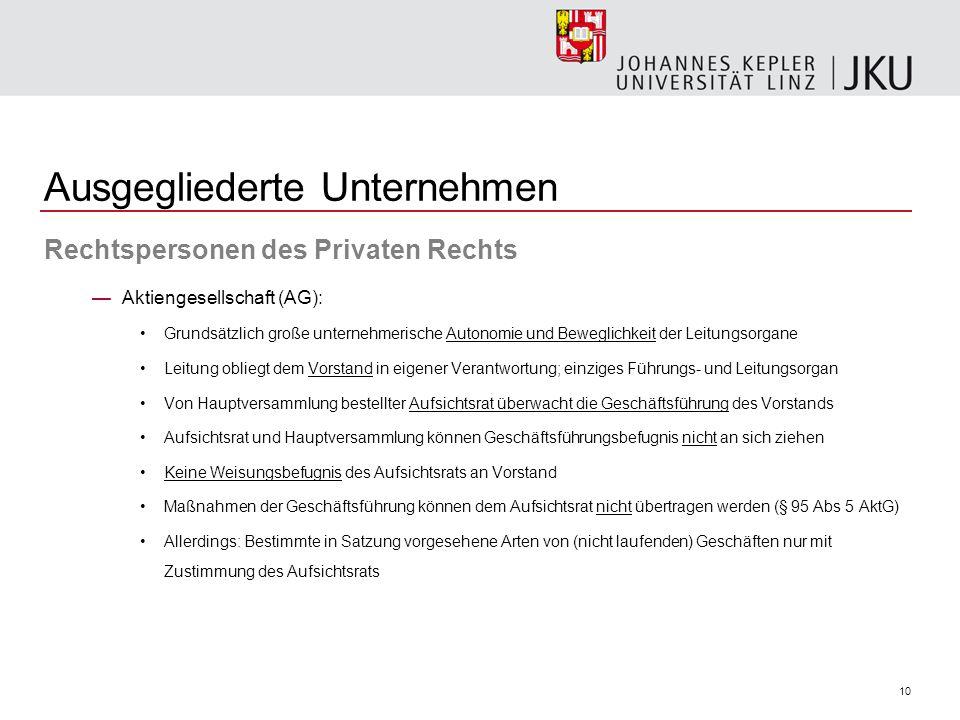 10 Ausgegliederte Unternehmen Rechtspersonen des Privaten Rechts Aktiengesellschaft (AG): Grundsätzlich große unternehmerische Autonomie und Beweglich