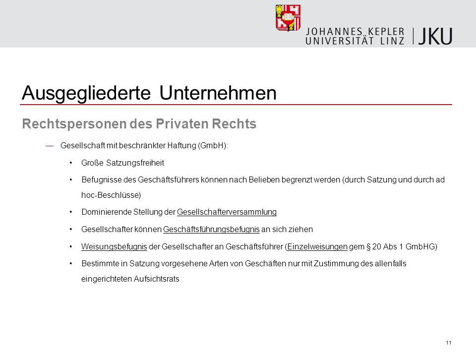 11 Ausgegliederte Unternehmen Rechtspersonen des Privaten Rechts Gesellschaft mit beschränkter Haftung (GmbH): Große Satzungsfreiheit Befugnisse des G