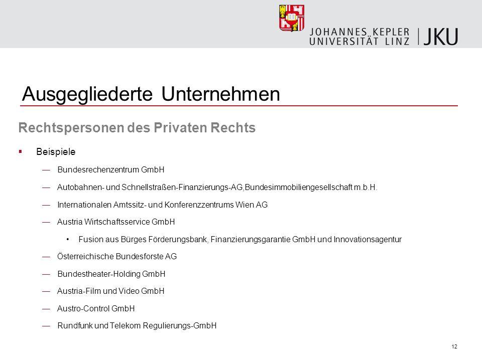 12 Ausgegliederte Unternehmen Rechtspersonen des Privaten Rechts Beispiele Bundesrechenzentrum GmbH Autobahnen- und Schnellstraßen-Finanzierungs-AG,Bundesimmobiliengesellschaft m.b.H.