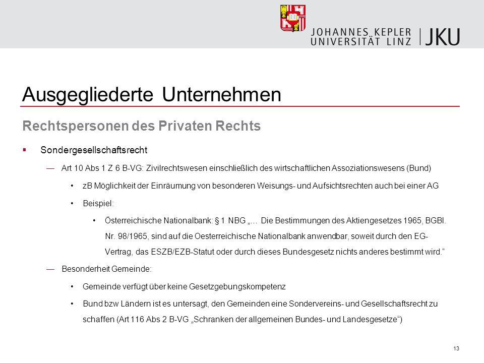 13 Ausgegliederte Unternehmen Rechtspersonen des Privaten Rechts Sondergesellschaftsrecht Art 10 Abs 1 Z 6 B-VG: Zivilrechtswesen einschließlich des w
