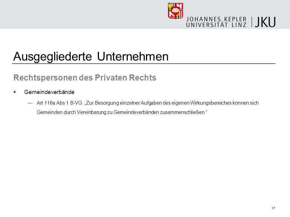 17 Ausgegliederte Unternehmen Rechtspersonen des Privaten Rechts Gemeindeverbände Art 116a Abs 1 B-VG: Zur Besorgung einzelner Aufgaben des eigenen Wi