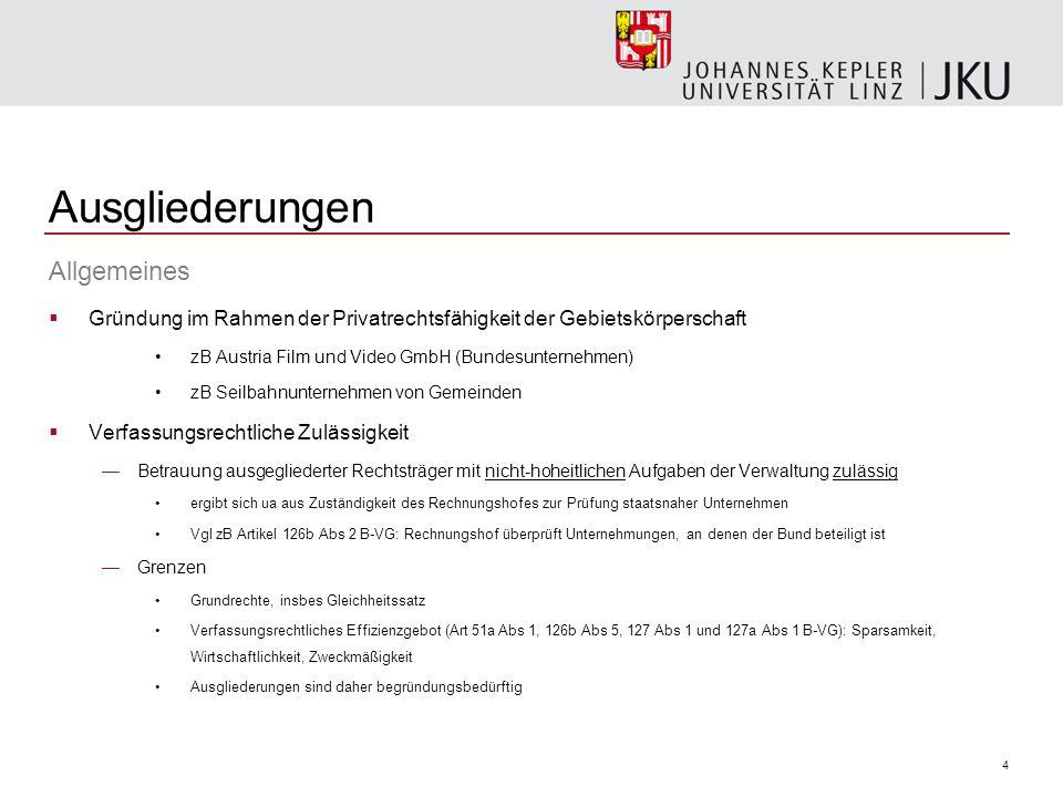 4 Ausgliederungen Allgemeines Gründung im Rahmen der Privatrechtsfähigkeit der Gebietskörperschaft zB Austria Film und Video GmbH (Bundesunternehmen)
