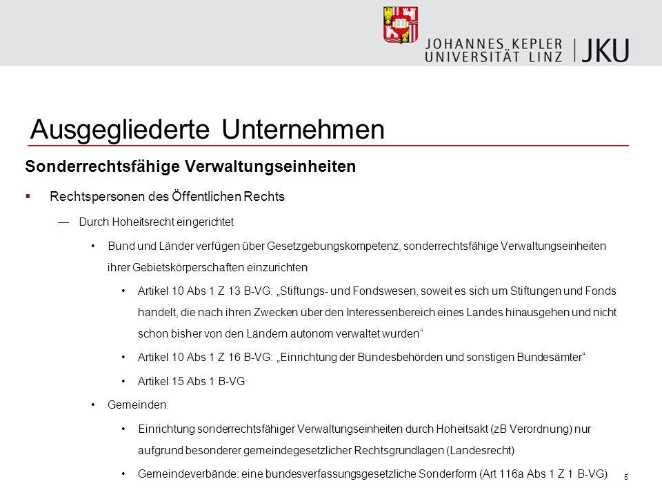 5 Ausgegliederte Unternehmen Sonderrechtsfähige Verwaltungseinheiten Rechtspersonen des Öffentlichen Rechts Durch Hoheitsrecht eingerichtet Bund und L