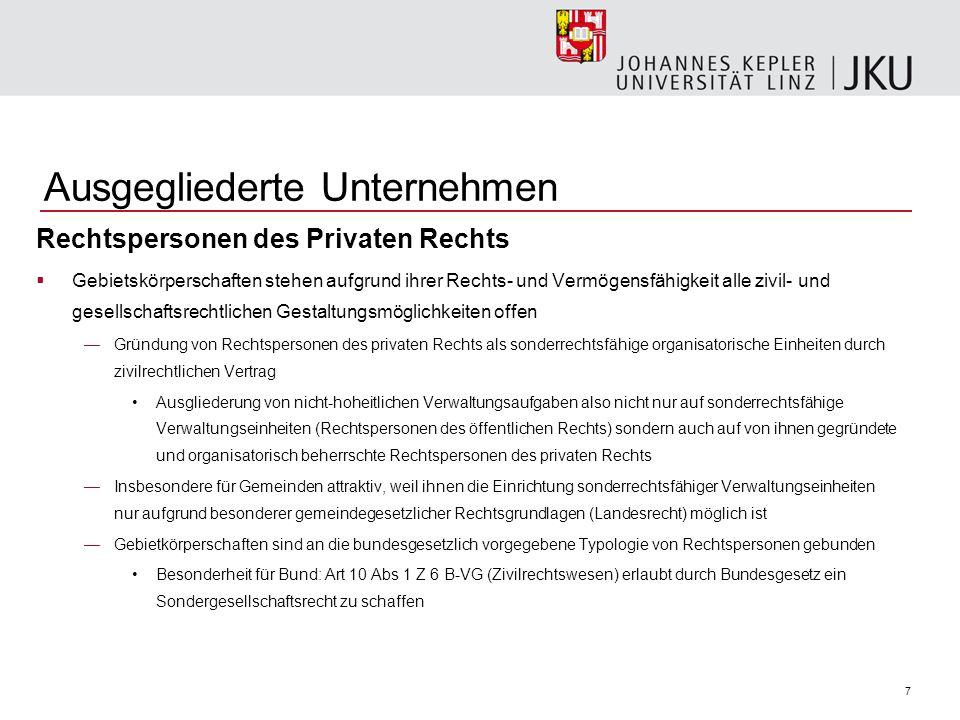 7 Ausgegliederte Unternehmen Rechtspersonen des Privaten Rechts Gebietskörperschaften stehen aufgrund ihrer Rechts- und Vermögensfähigkeit alle zivil-