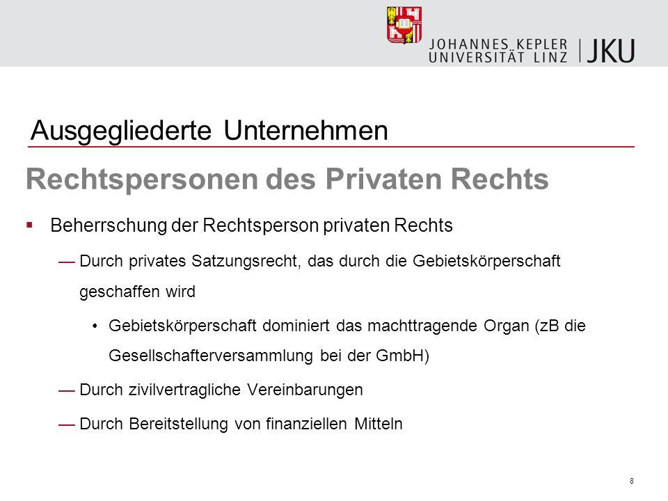 8 Ausgegliederte Unternehmen Rechtspersonen des Privaten Rechts Beherrschung der Rechtsperson privaten Rechts Durch privates Satzungsrecht, das durch