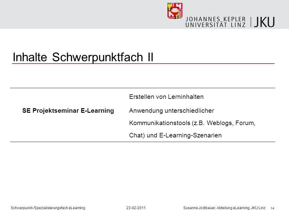 14 Inhalte Schwerpunktfach II SE Projektseminar E-Learning Erstellen von Lerninhalten Anwendung unterschiedlicher Kommunikationstools (z.B. Weblogs, F