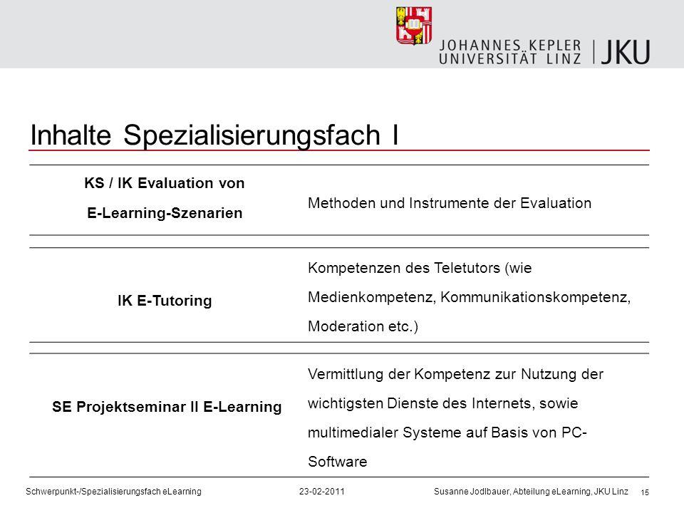 15 Inhalte Spezialisierungsfach I KS / IK Evaluation von E-Learning-Szenarien Methoden und Instrumente der Evaluation IK E-Tutoring Kompetenzen des Te