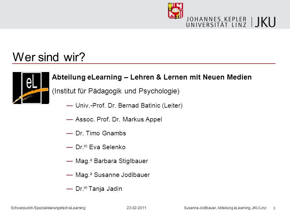 3 Wer sind wir? Abteilung eLearning – Lehren & Lernen mit Neuen Medien (Institut für Pädagogik und Psychologie) Univ.-Prof. Dr. Bernad Batinic (Leiter
