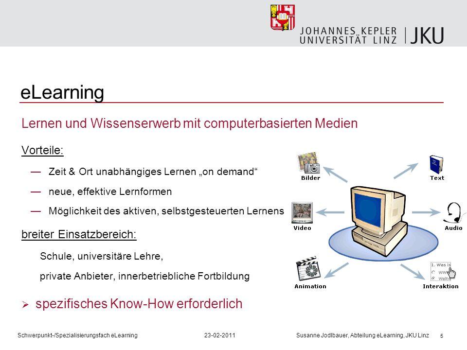5 Lernen und Wissenserwerb mit computerbasierten Medien Vorteile: Zeit & Ort unabhängiges Lernen on demand neue, effektive Lernformen Möglichkeit des