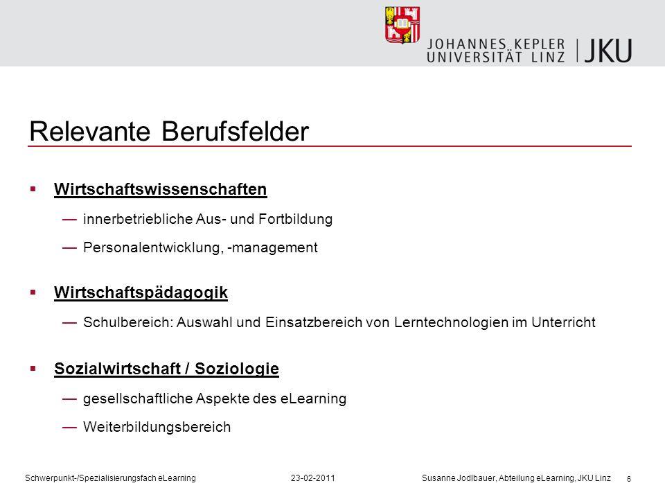 6 Relevante Berufsfelder Wirtschaftswissenschaften innerbetriebliche Aus- und Fortbildung Personalentwicklung, -management Wirtschaftspädagogik Schulb