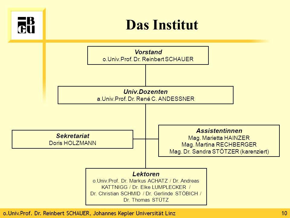 o.Univ.Prof. Dr. Reinbert SCHAUER, Johannes Kepler Universität Linz10 Das Institut Vorstand o.Univ.Prof. Dr. Reinbert SCHAUER Assistentinnen Mag. Mari