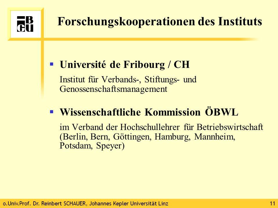 o.Univ.Prof. Dr. Reinbert SCHAUER, Johannes Kepler Universität Linz11 Forschungskooperationen des Instituts Université de Fribourg / CH Institut für V