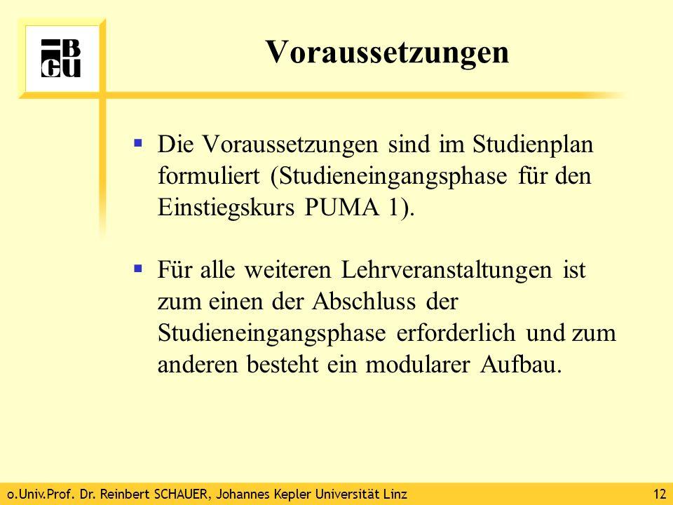 o.Univ.Prof. Dr. Reinbert SCHAUER, Johannes Kepler Universität Linz12 Voraussetzungen Die Voraussetzungen sind im Studienplan formuliert (Studieneinga