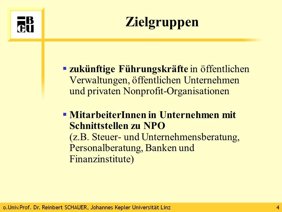 o.Univ.Prof. Dr. Reinbert SCHAUER, Johannes Kepler Universität Linz4 Zielgruppen zukünftige Führungskräfte in öffentlichen Verwaltungen, öffentlichen