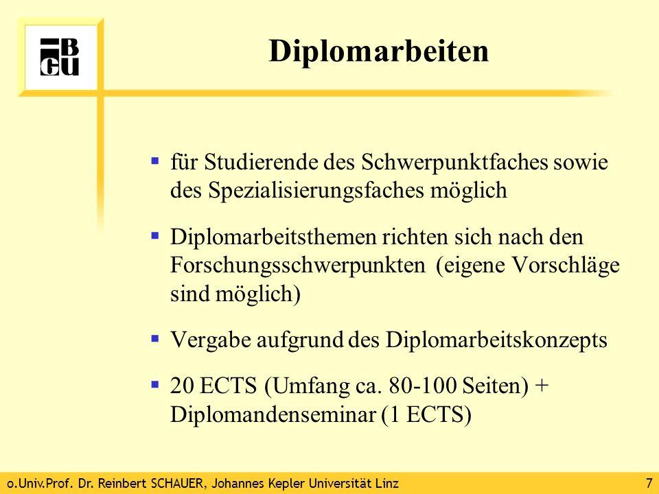 o.Univ.Prof. Dr. Reinbert SCHAUER, Johannes Kepler Universität Linz7 Diplomarbeiten für Studierende des Schwerpunktfaches sowie des Spezialisierungsfa