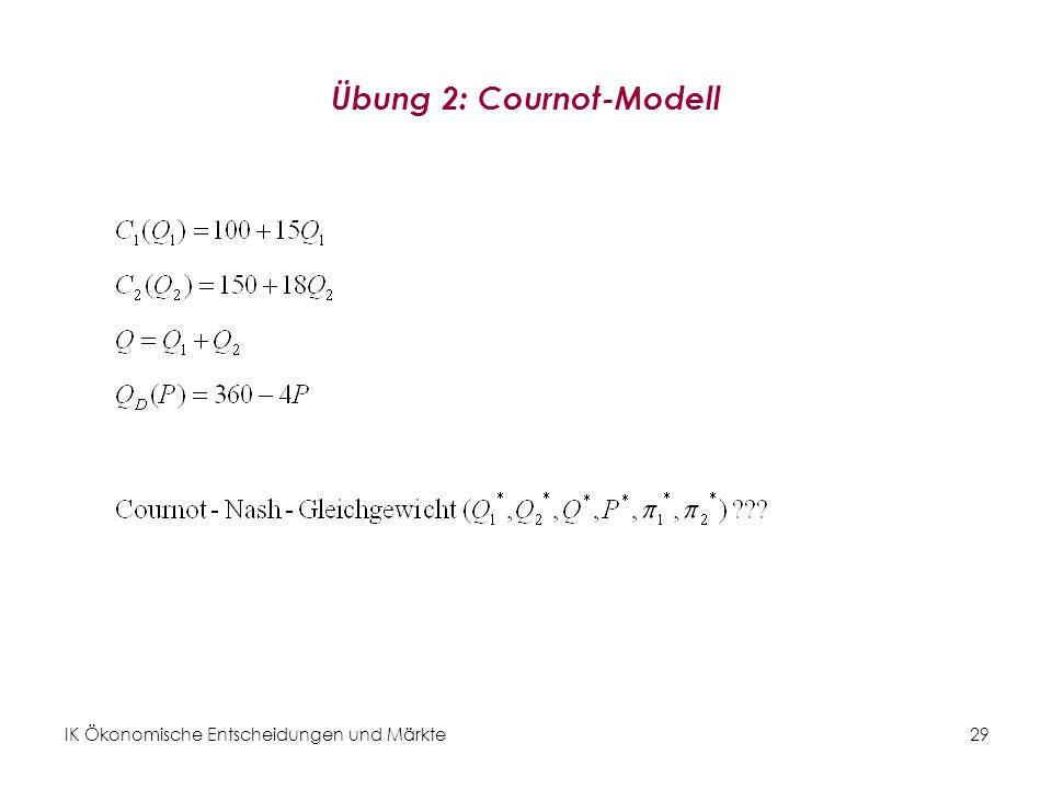 IK Ökonomische Entscheidungen und Märkte29 Übung 2: Cournot-Modell