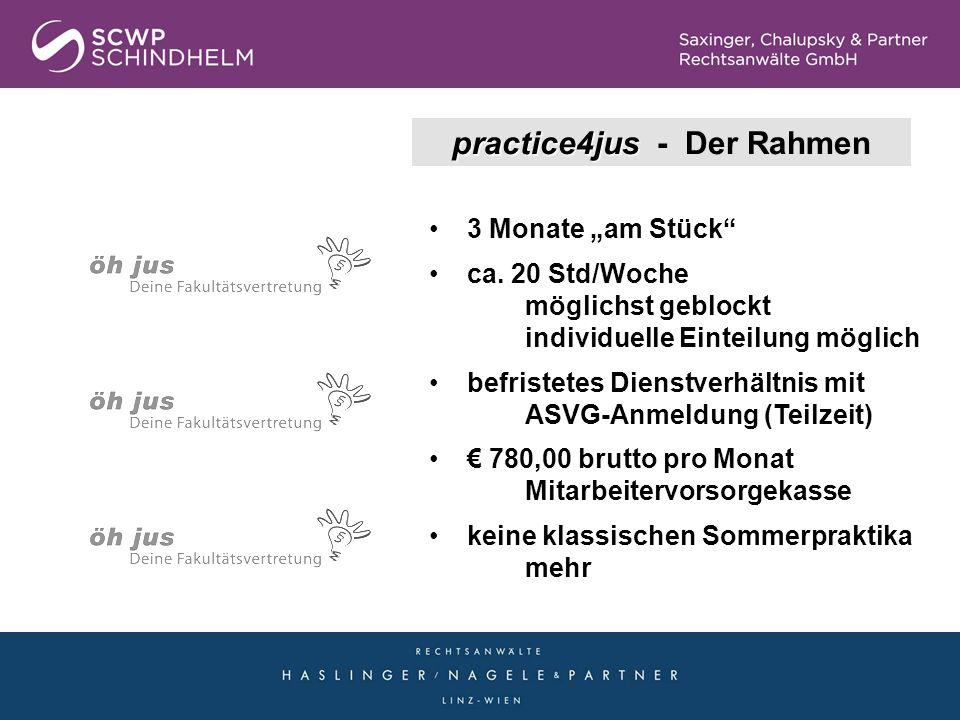 practice4jus practice4jus - Der Rahmen 3 Monate am Stück ca. 20 Std/Woche möglichst geblockt individuelle Einteilung möglich befristetes Dienstverhält