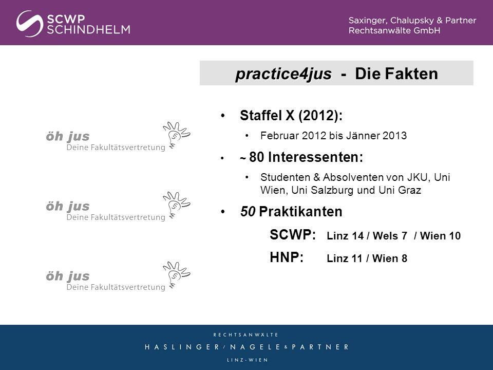 practice4jus practice4jus - Die Fakten Staffel X (2012): Februar 2012 bis Jänner 2013 ~ 80 Interessenten: Studenten & Absolventen von JKU, Uni Wien, U