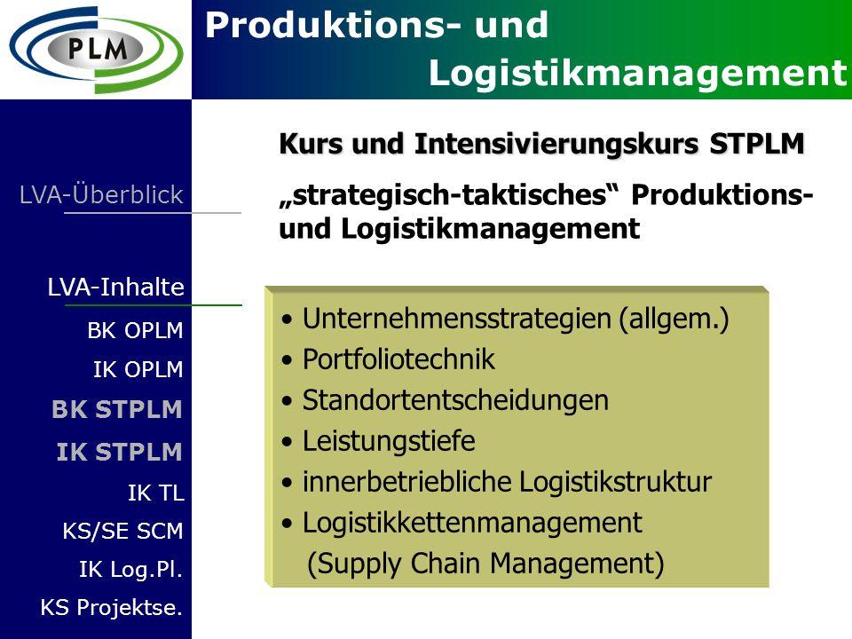 Produktions- und Logistikmanagement LVA-Überblick LVA-Inhalte BK OPLM IK OPLM BK STPLM IK STPLM IK TL KS/SE SCM IK Log.Pl. KS Projektse. Unternehmenss