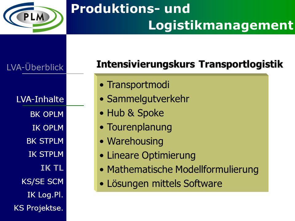 Produktions- und Logistikmanagement LVA-Überblick LVA-Inhalte BK OPLM IK OPLM BK STPLM IK STPLM IK TL KS/SE SCM IK Log.Pl. KS Projektse. Transportmodi