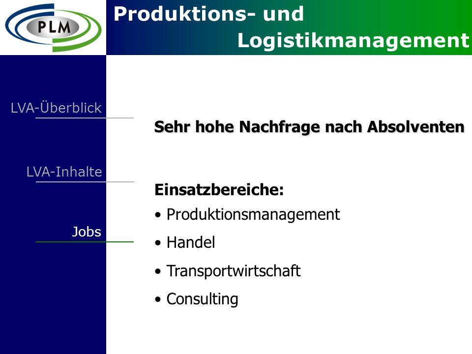 Produktions- und Logistikmanagement LVA-Überblick LVA-Inhalte Jobs Sehr hohe Nachfrage nach Absolventen Einsatzbereiche: Produktionsmanagement Handel