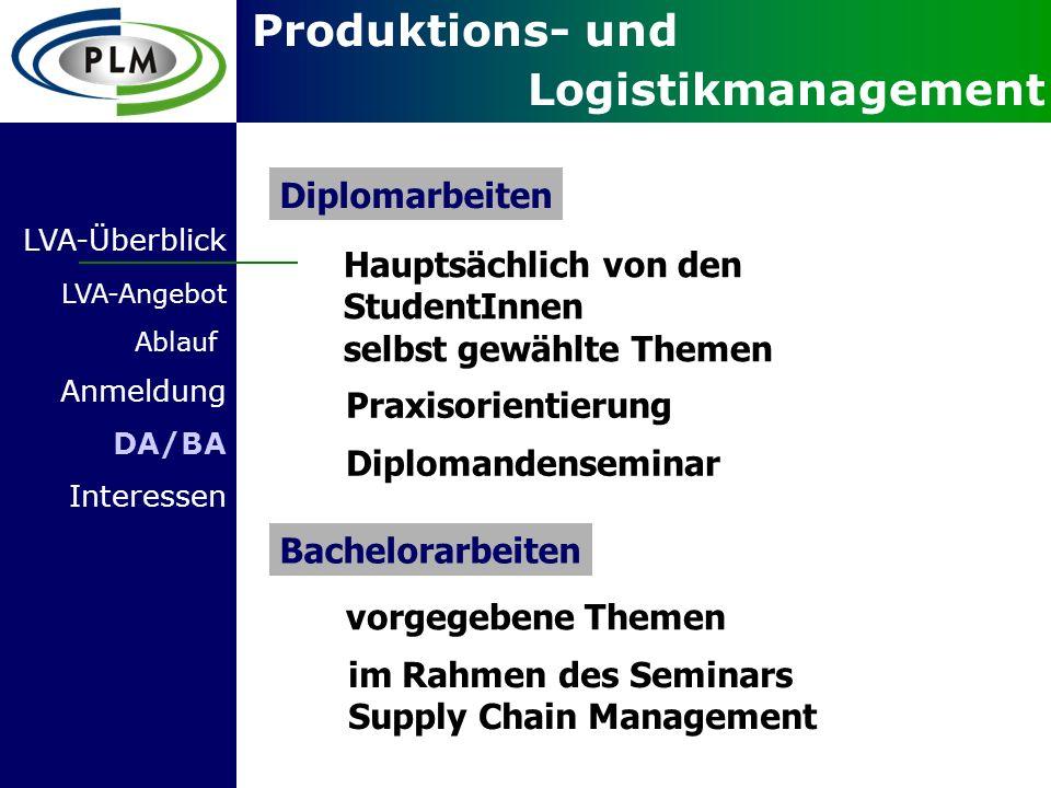 Produktions- und Logistikmanagement Hauptsächlich von den StudentInnen selbst gewählte Themen Praxisorientierung Diplomarbeiten Bachelorarbeiten vorge