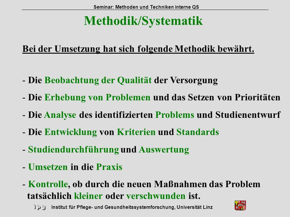 Institut für Pflege- und Gesundheitssystemforschung, Universität Linz Seminar: Methoden und Techniken interne QS Prozess einer problemorientierten Qualitätsarbeit QZ