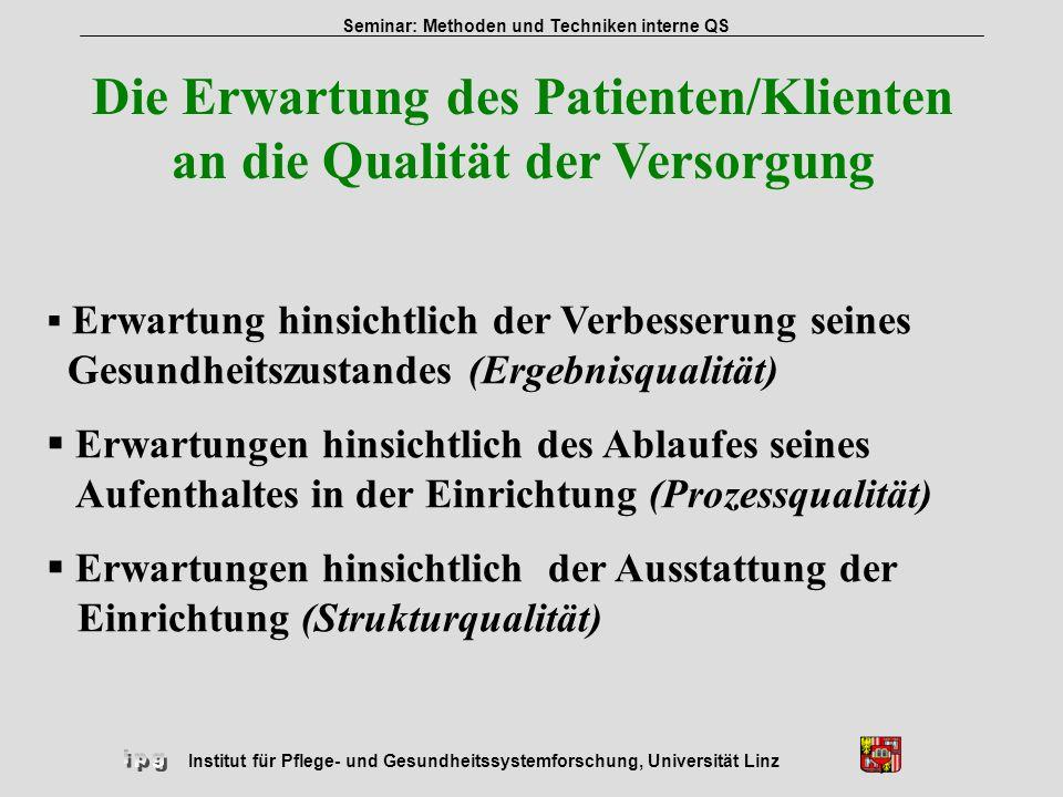 Institut für Pflege- und Gesundheitssystemforschung, Universität Linz Seminar: Methoden und Techniken interne QS Die Erwartung des Patienten/Klienten